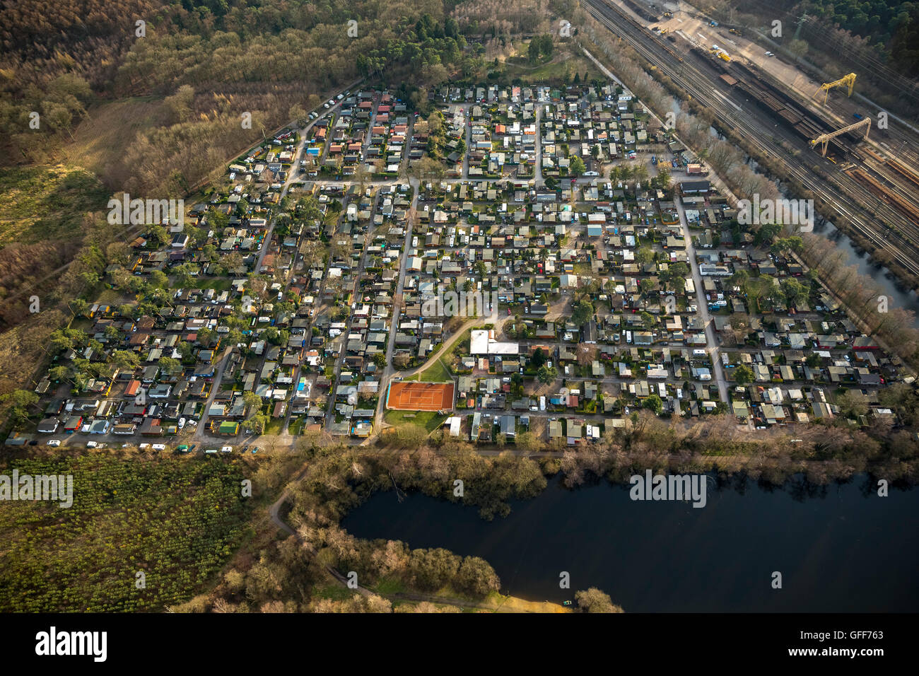 Aerial view, camping Entenfang, Duisburg Lakeland, annual rent, Mülheim an der Ruhr, Ruhr area, North Rhine - Stock Image