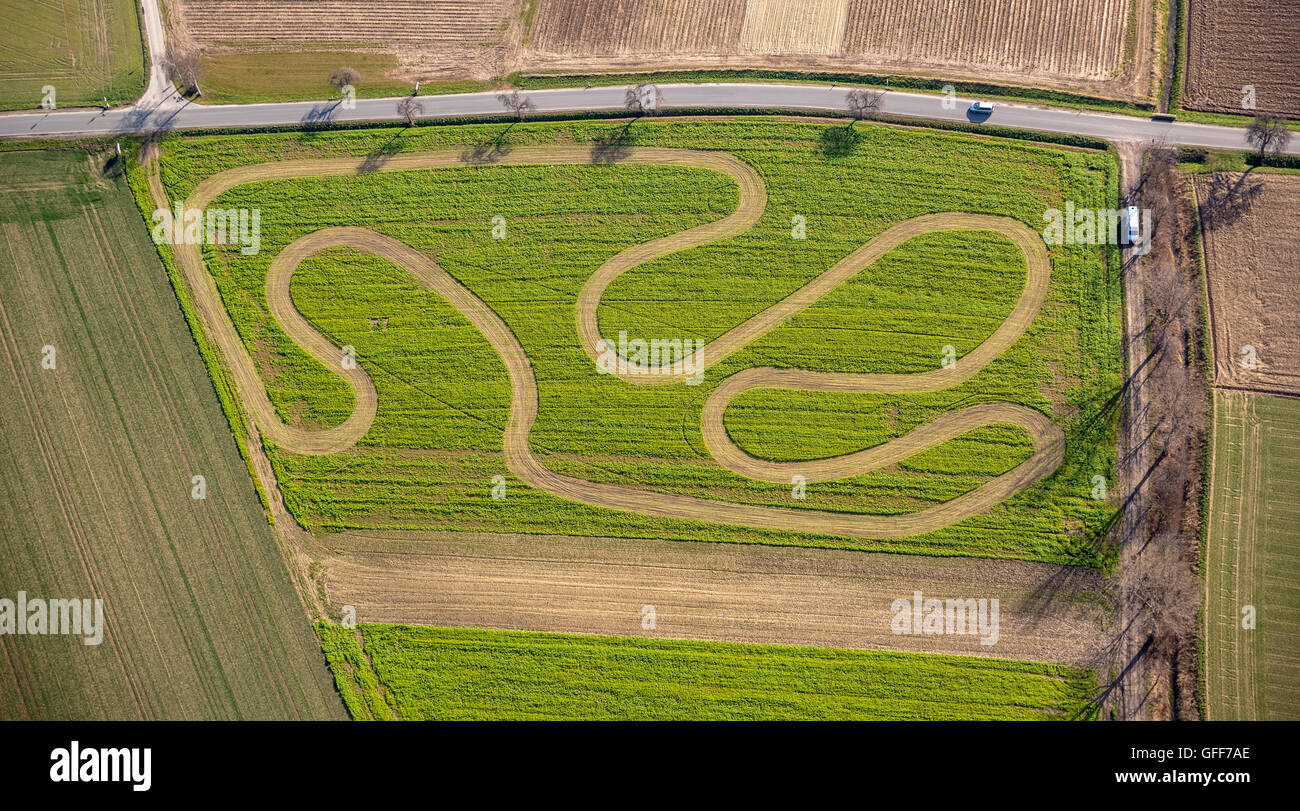 Aerial view, motocross terrain on a harvested field in Werl, Soester Plain, north rhine westphalia, Germany, Europe, - Stock Image