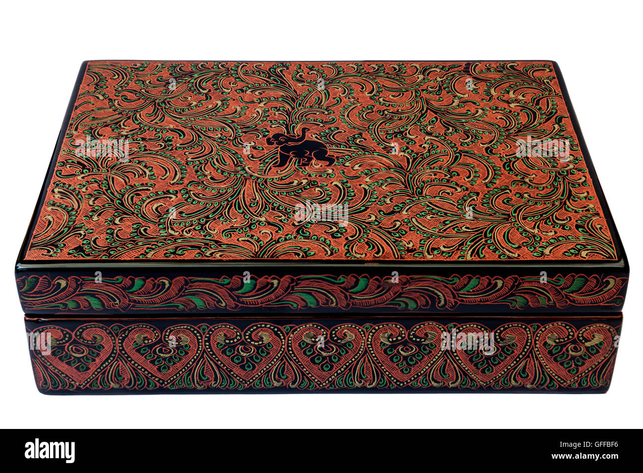 A small box (lacquer). In Bagan (Myanmar), pieces of lacquerware are ones of the costliest handicrafts offered to - Stock Image