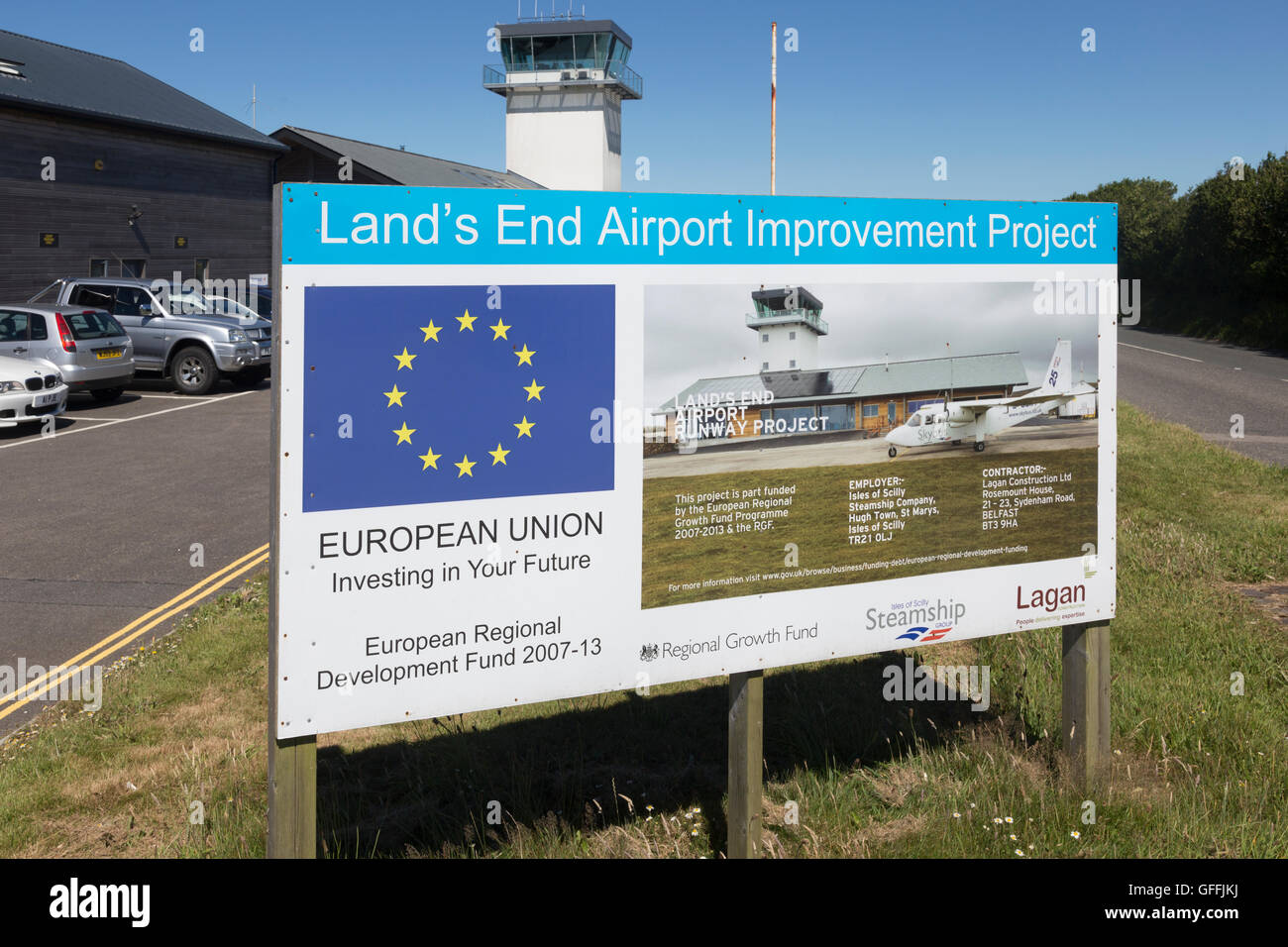 European Union investing in Land's End airport improvement project, Cornwall, UK. - Stock Image