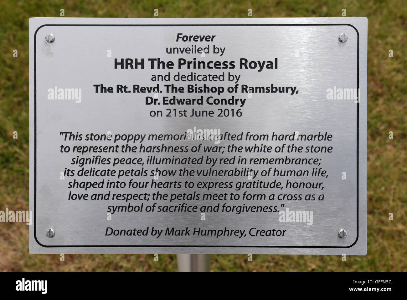 Memorial plaque beside the 'Forever' stone poppy memorial in Royal Wootton Bassett, Wiltshire, UK. Stock Photo