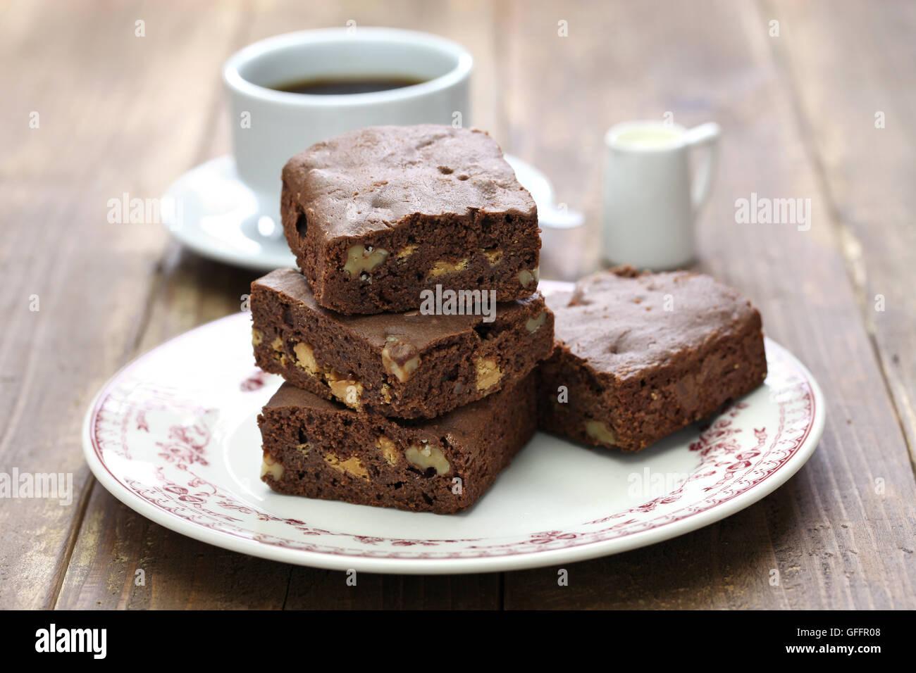 homemade chocolate brownie cake, coffee break - Stock Image