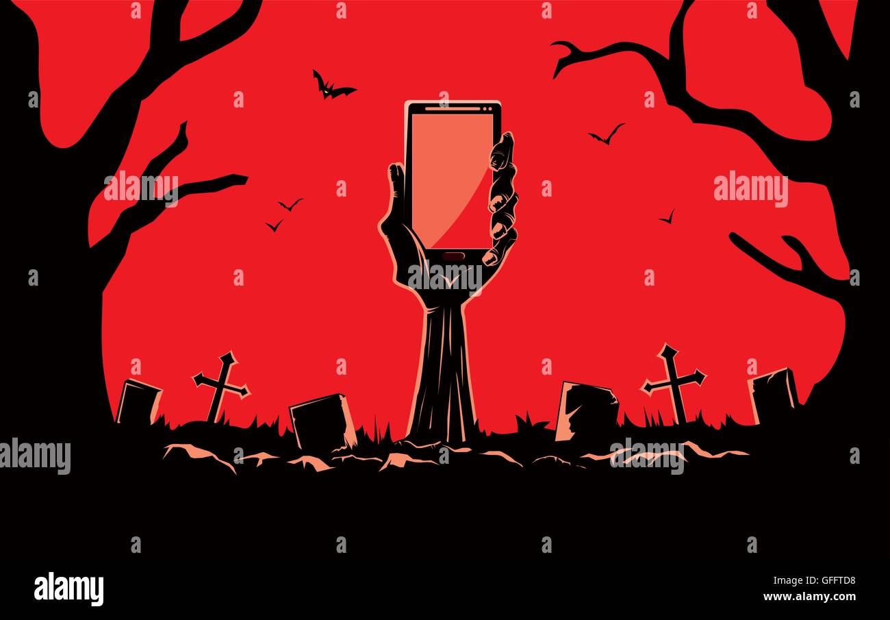 Zombie hand holding smartphone blank screen up from the grave - Stock Image