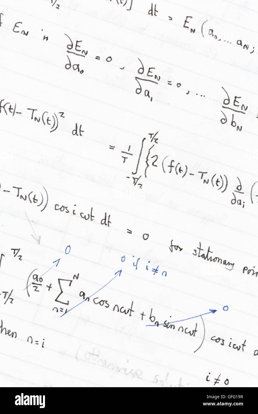 Complex maths and physics equations and formulas - Stock Image