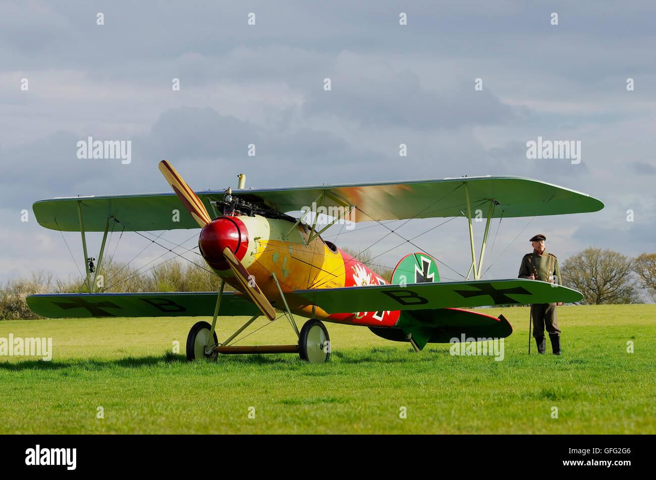 Albatross DVa replica at Stow Maries Aerodrome Essex - Stock Image