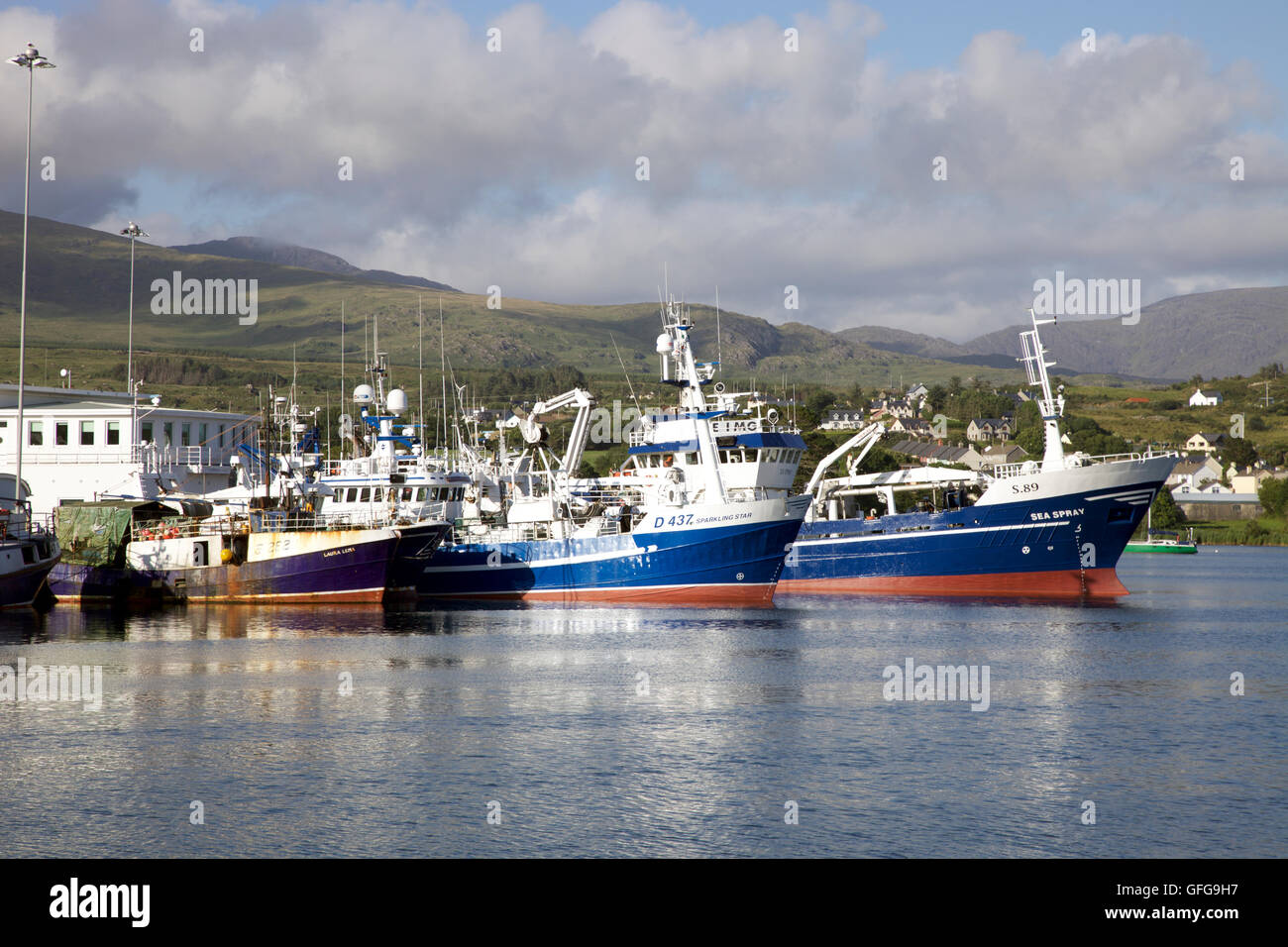 Ships anchored in Castletownbere Harbour, West Cork - Stock Image
