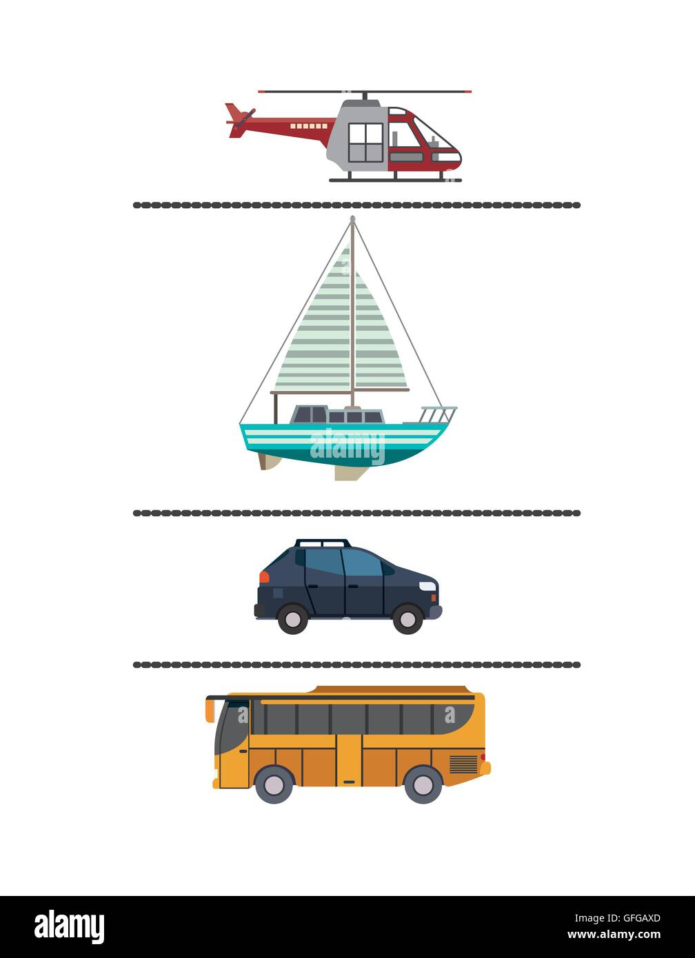 Set Means Transport Icon Stock Photos & Set Means Transport