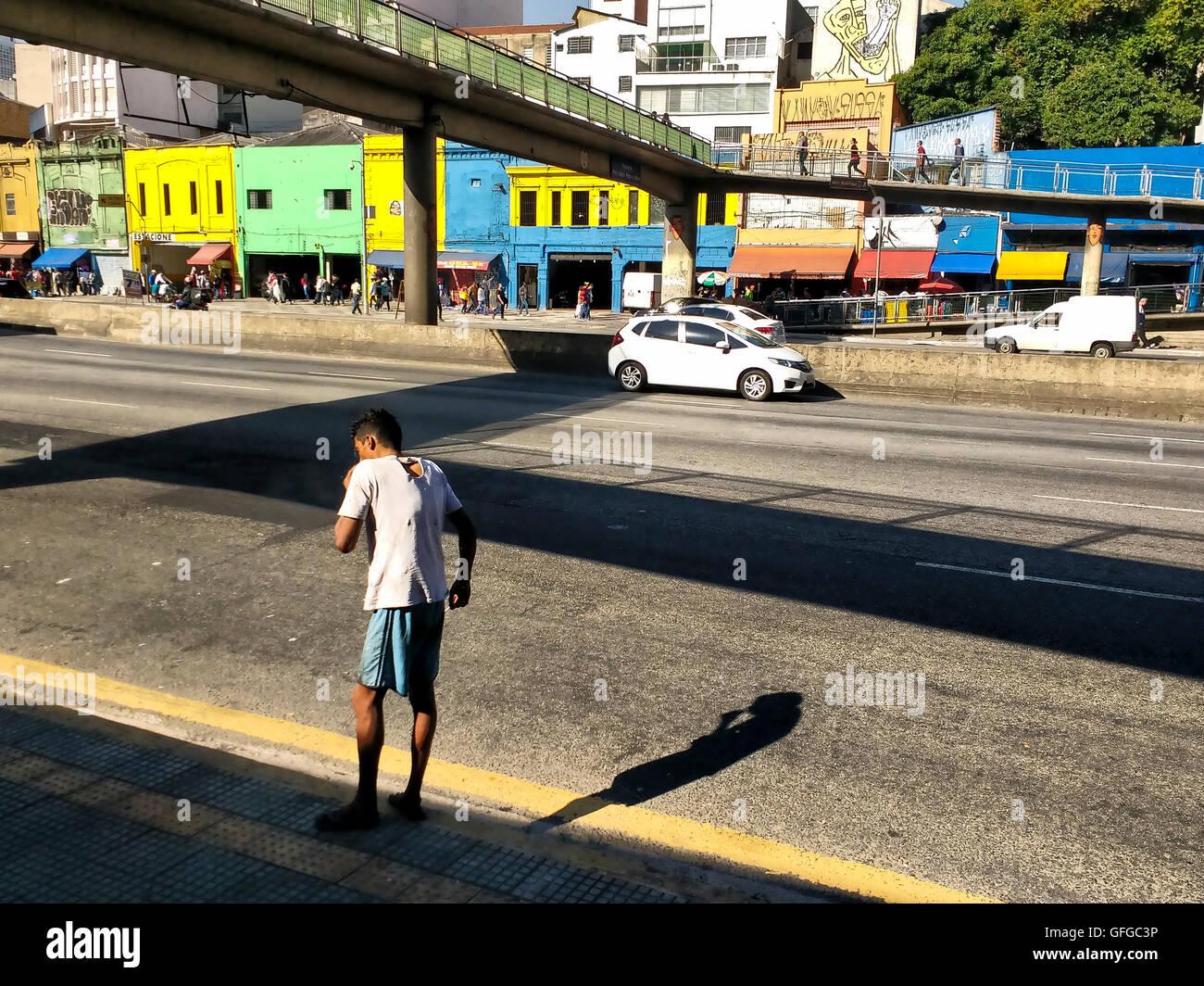 Homeless street boy in Sao Paulo downtown - Stock Image