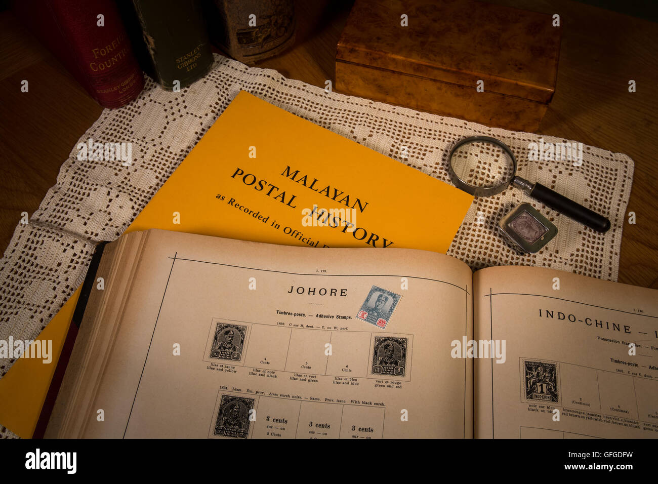 Stamp collecting as a pastime with rare and expensive stamps and High catalogue values - Stock Image