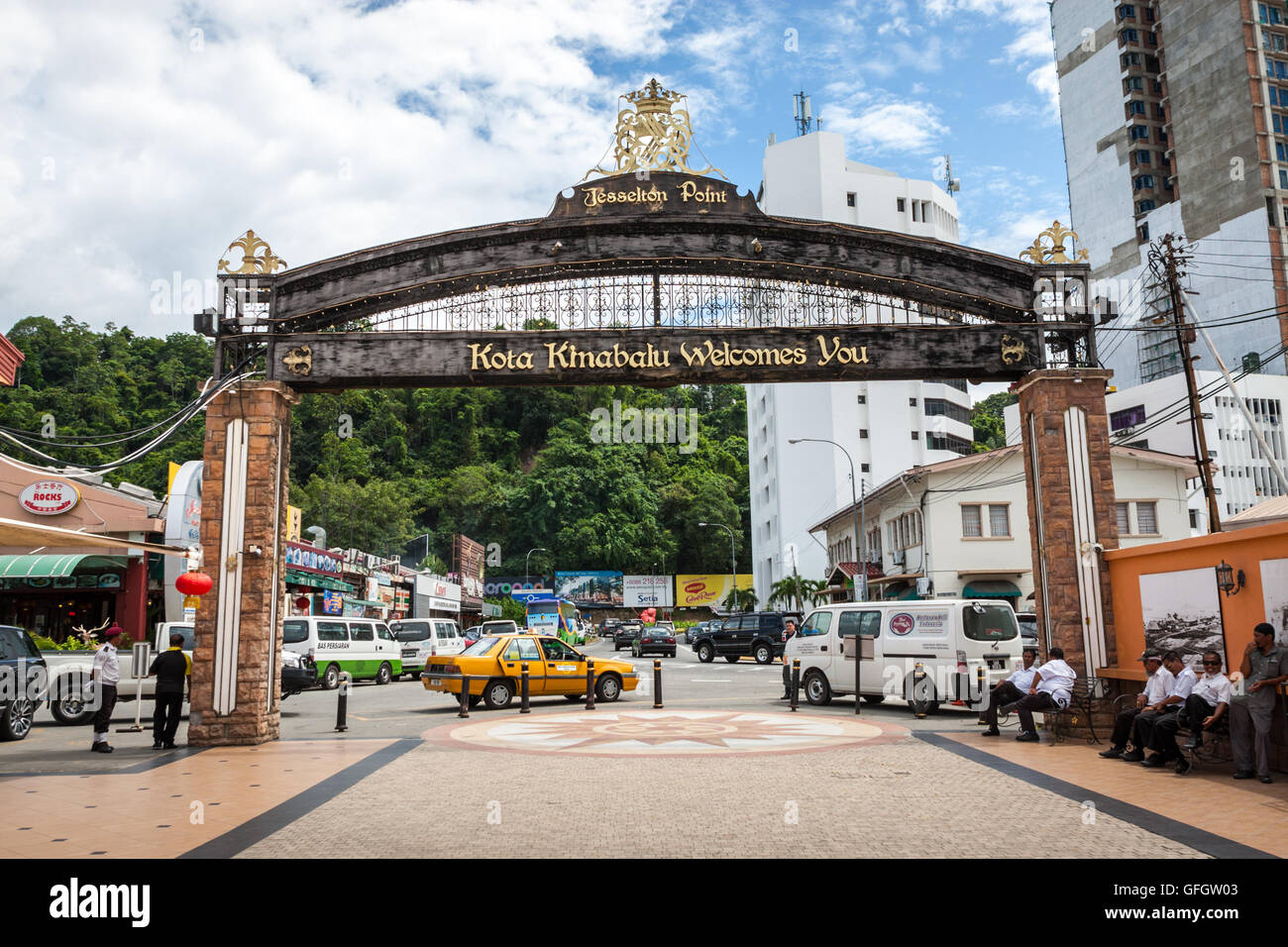 Welcome sign over the entrance/exit to Jesselton Point, Kota Kinabalu, Sabah, Malaysia Borneo - Stock Image