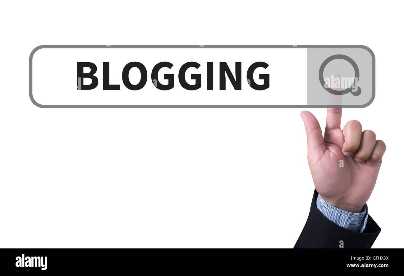 BLOGGING man pushing (touching) virtual web browser address bar or search bar - Stock Image