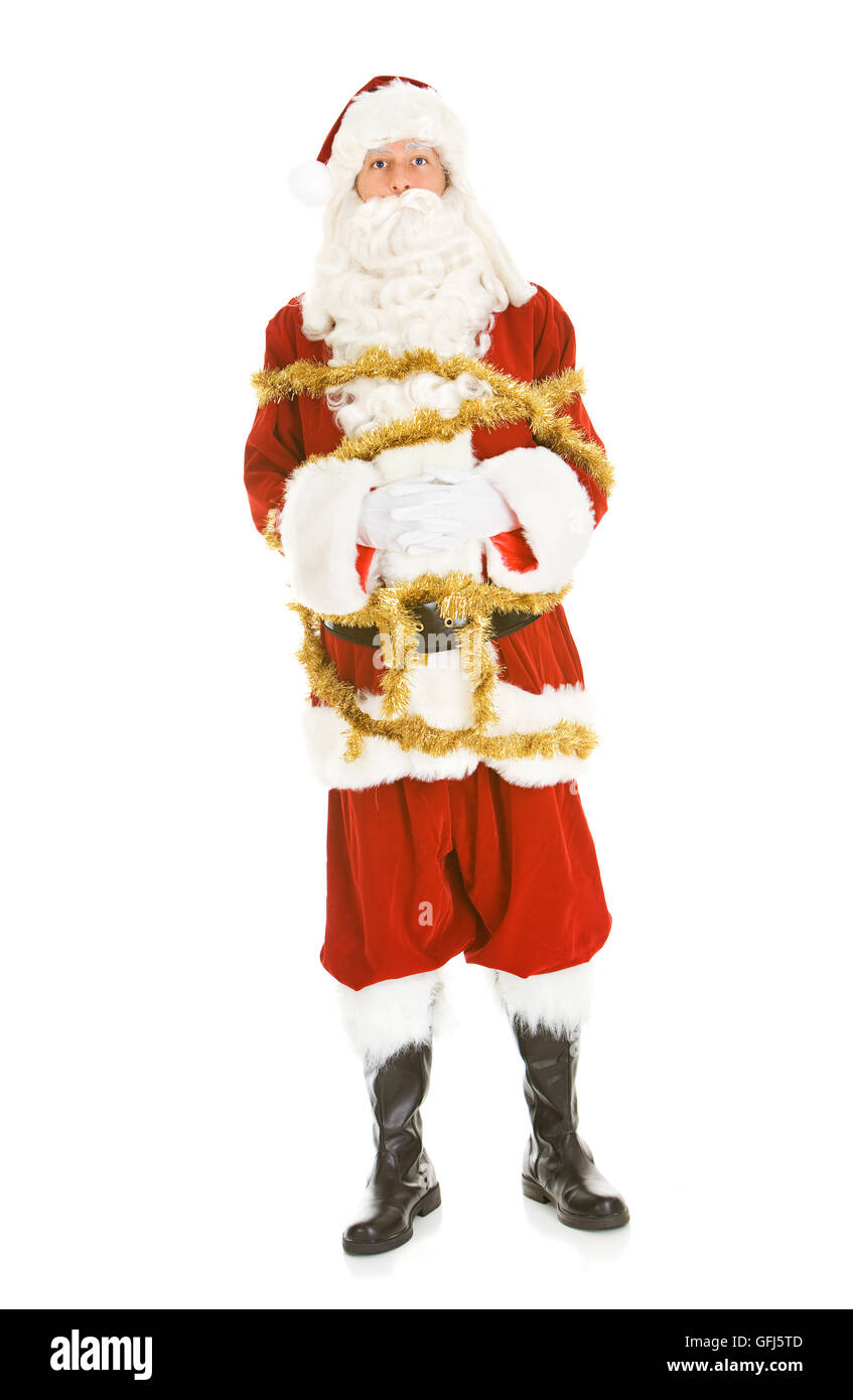 Series with a man in a Santa Claus outfit, in various poses with Christmas props. - Stock Image
