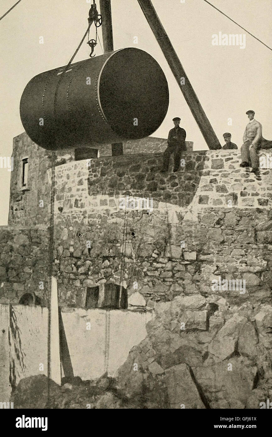 Setting the Compressed air reservoir at Fort Doyle for Lighthouse, circa 1900 - Stock Image