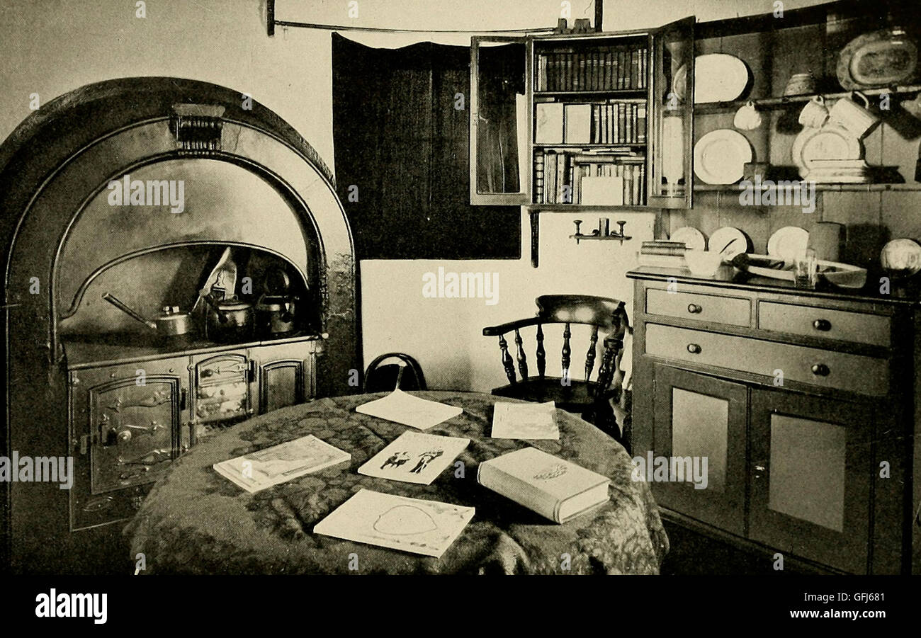 Combined kitchen and living room in a lighhouse, circa 1900 - Stock Image