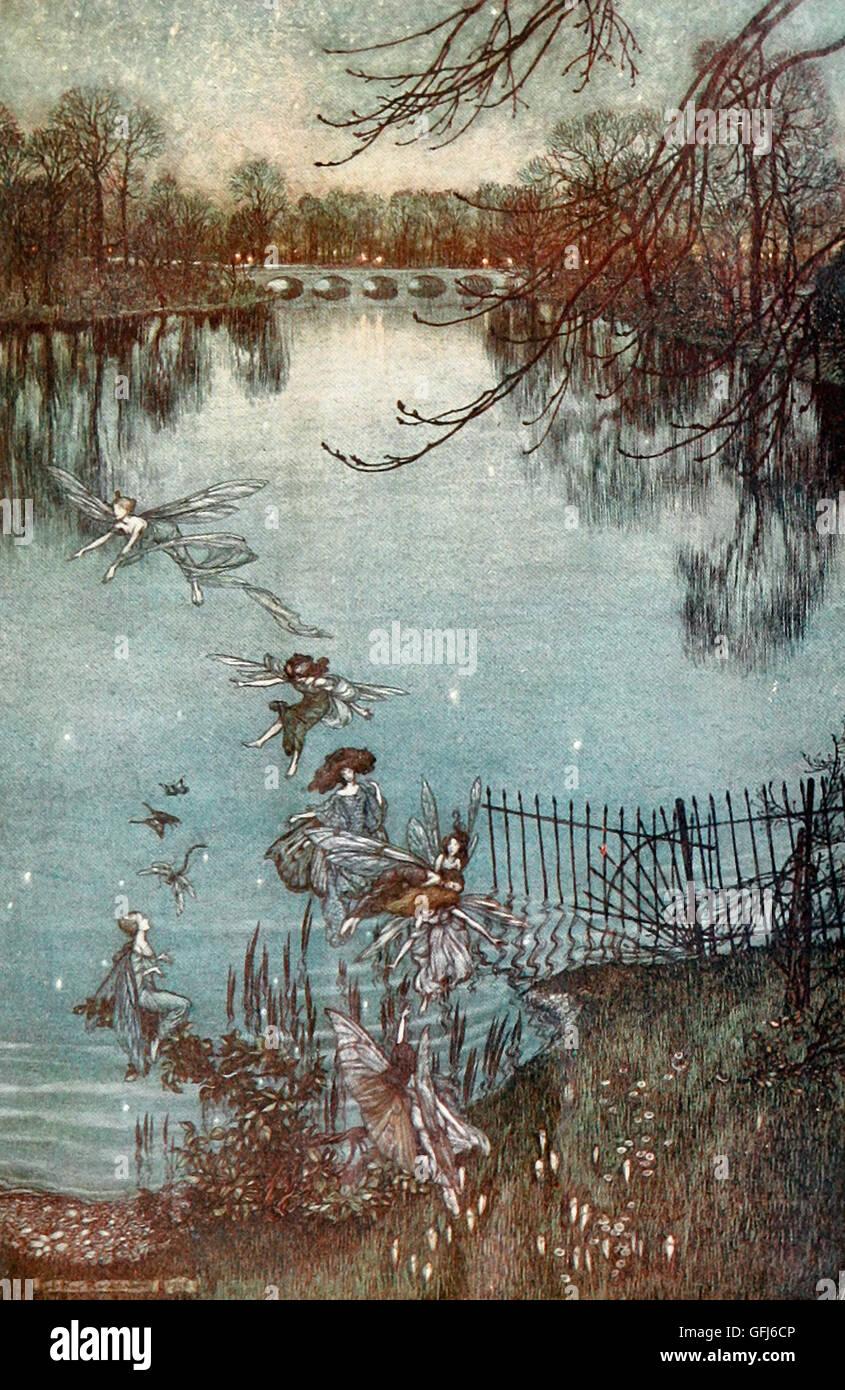 Fairies in the park - Peter Pan in Kensington Gardens - Stock Image