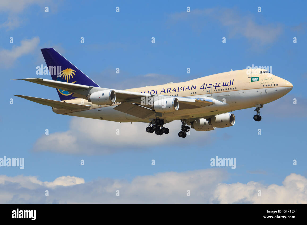 Zurich/Switzerland July10, 2016: Saudi Airliners Boeing 747SP landing at Zurich Airport. - Stock Image