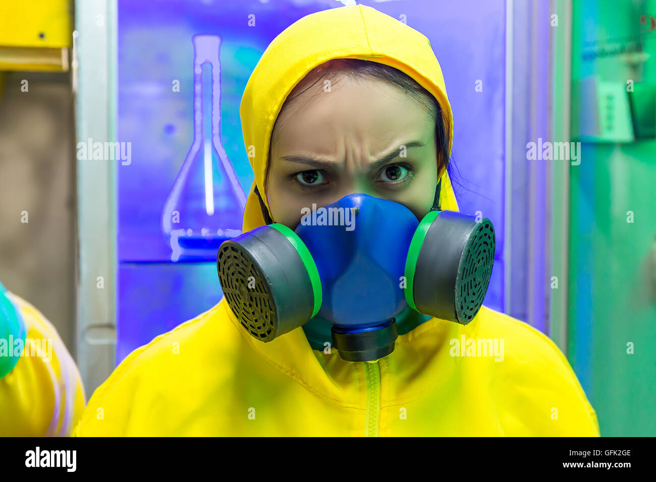 Woman in chemical laboratory - Stock Image