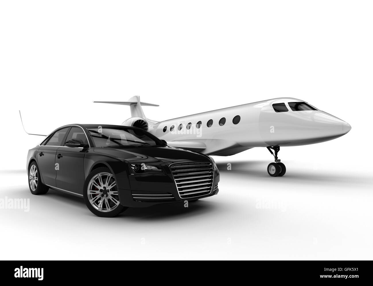 3d Render Image Of A Private Plane And A Limousine Representing An