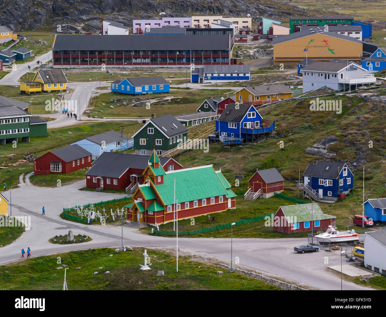 View down Paamiut Church South West Greenland small fishing community in Sermersooq municipality southern end small Stock Photo