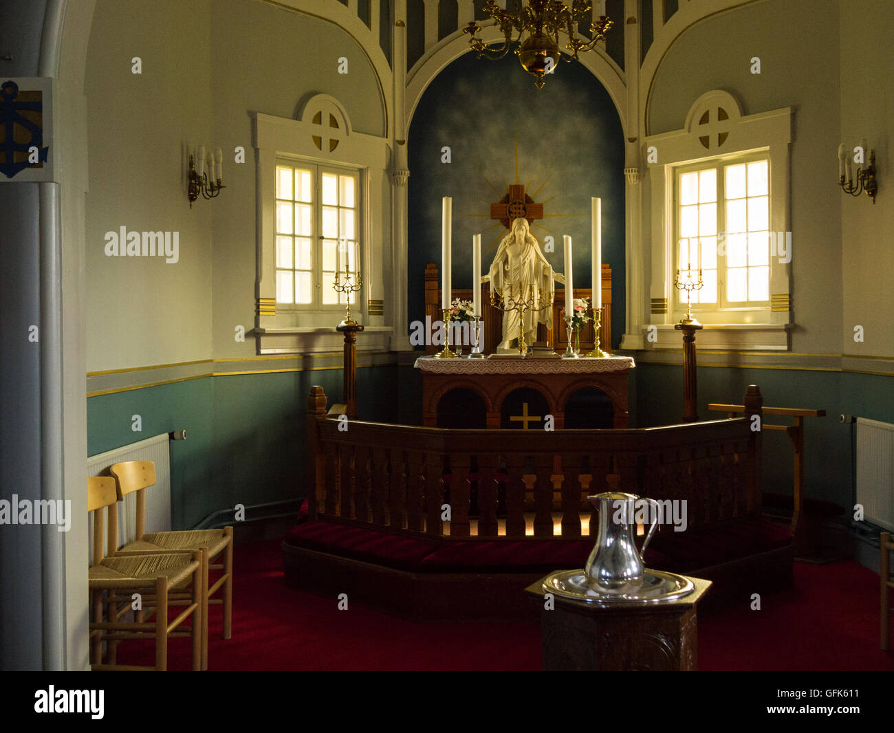 Altar of Paamiut Church South West Greenland small fishing community in Sermersooq municipality southern end small Stock Photo