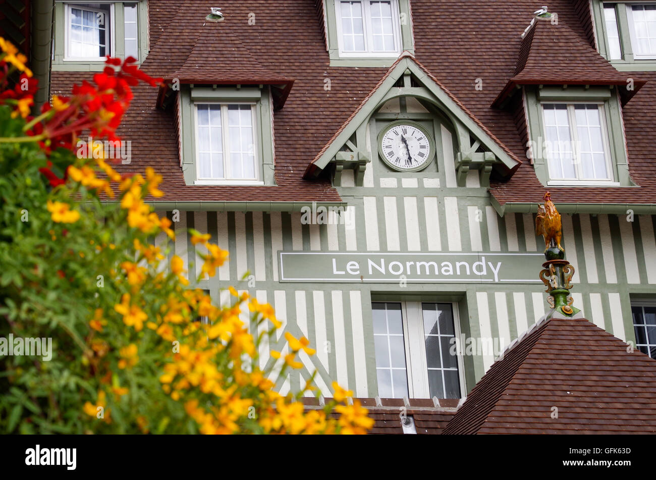 Close Up Facade Detail Of Famous Luxury Hotel Barriere Le Normandy