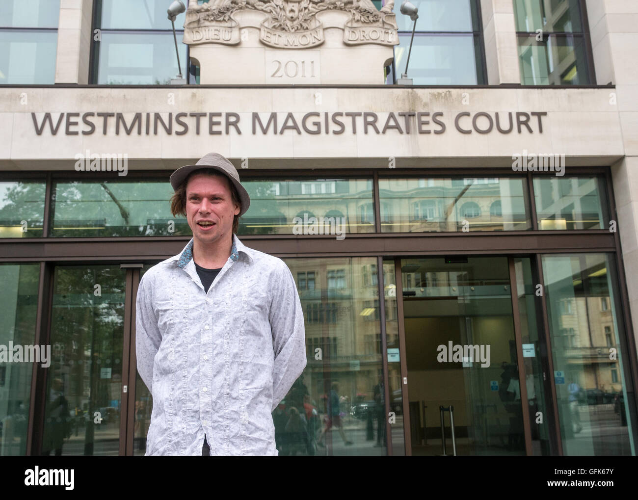 Extradition hearing for Lauri Love, 30,who has been charged with hacking into various agencies, including the US - Stock Image