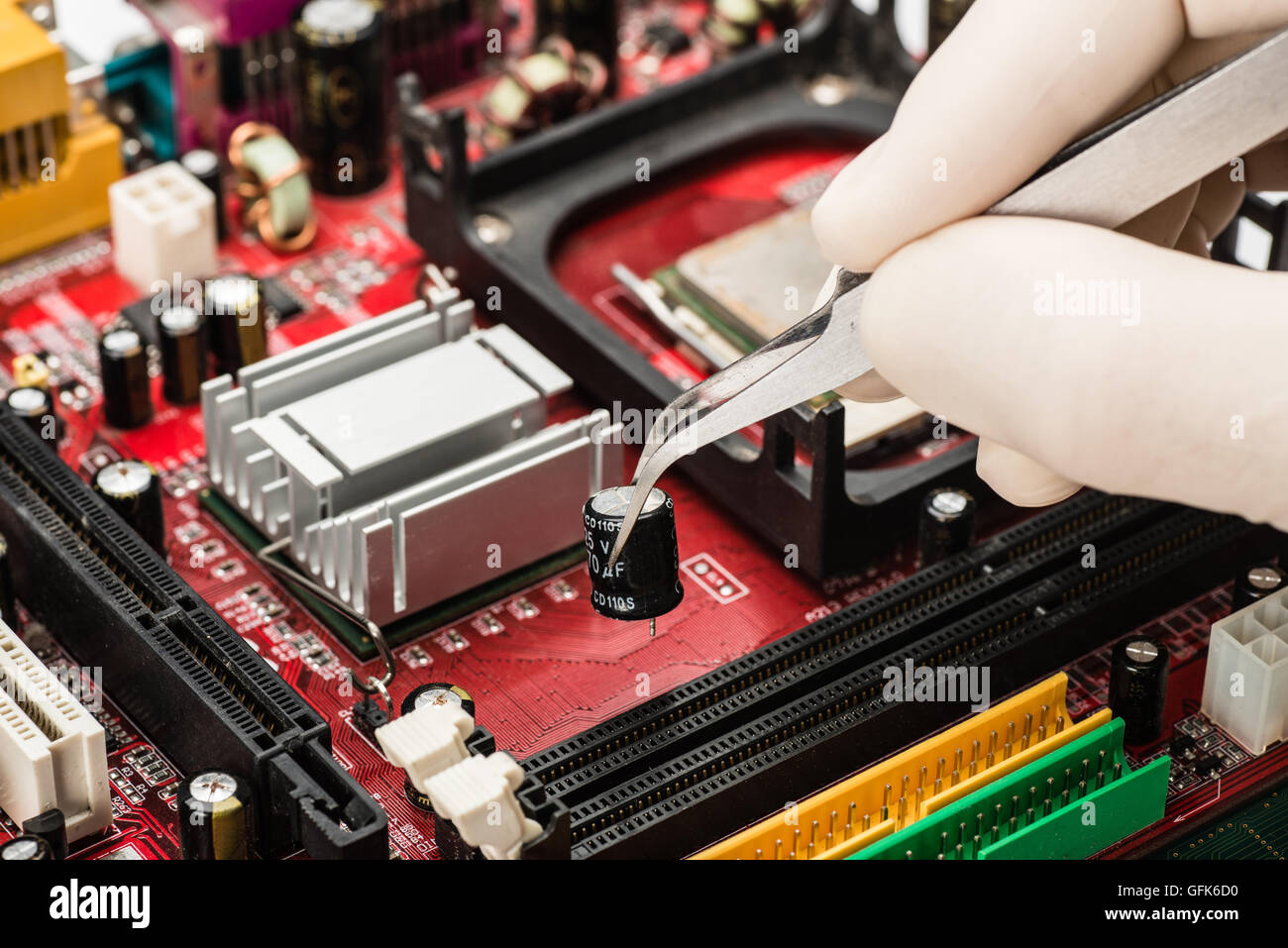 working on the computer hardware - Stock Image