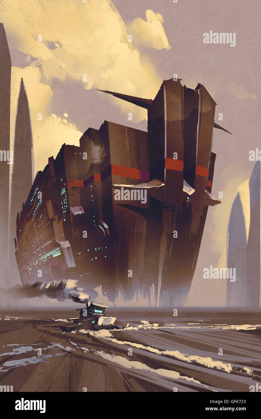 futuristic ocean liner,sci-fi concept,illustration digital painting - Stock Image