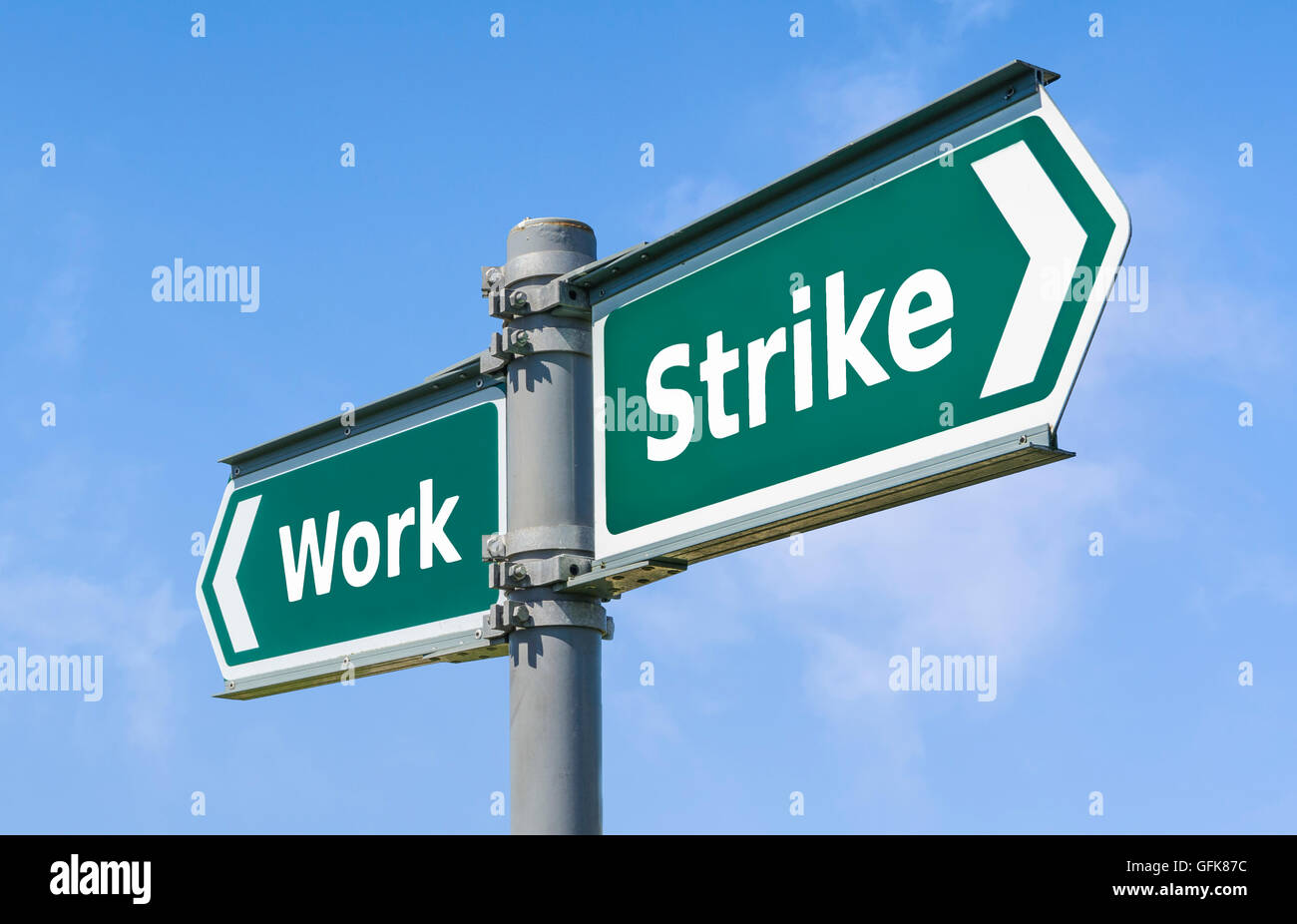 Strike or Work direction sign. - Stock Image