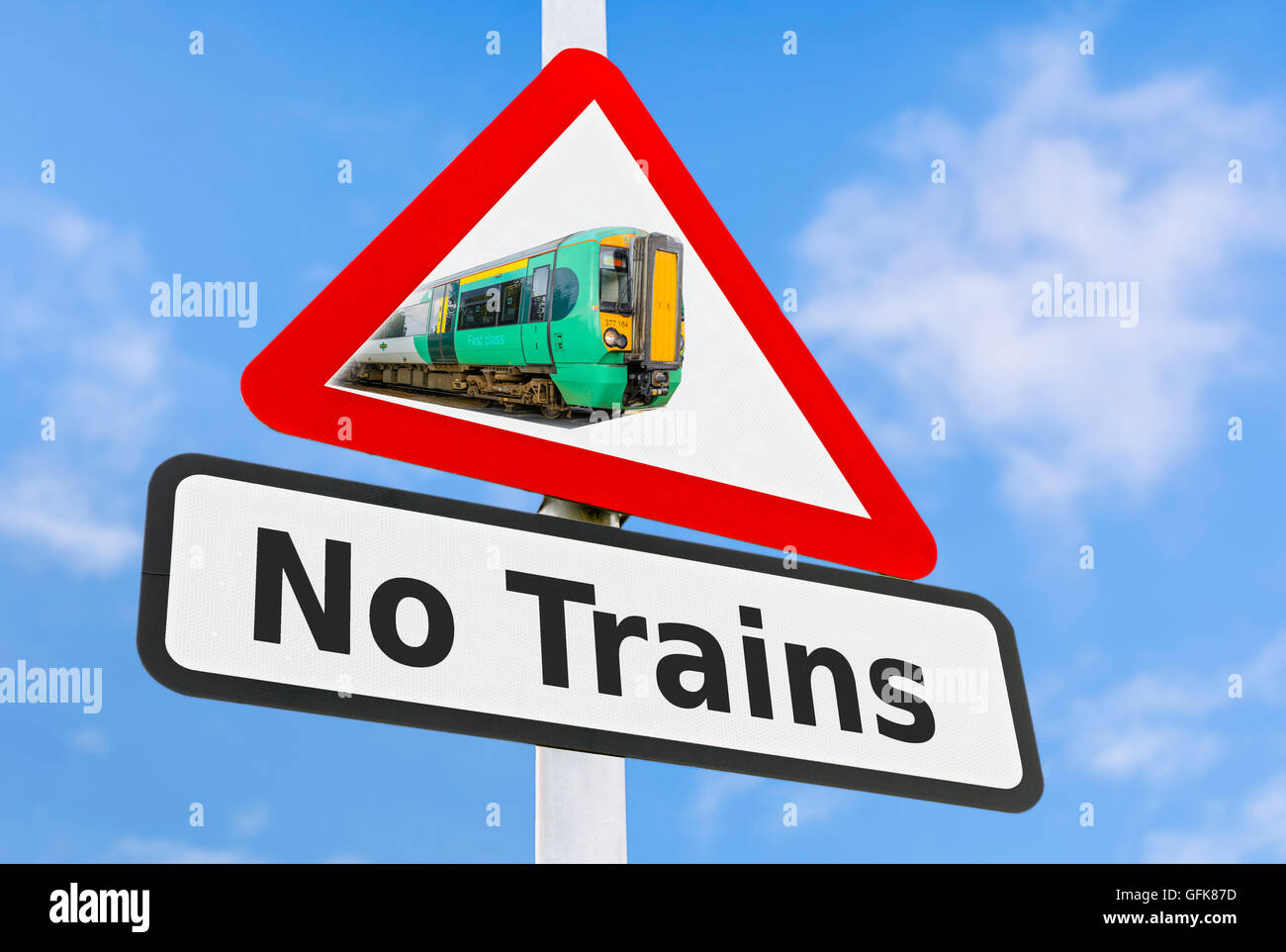No Trains warning sign showing a Southern Railway train. Southern Rail strike. Trains cancelled. Cancelled trains. - Stock Image