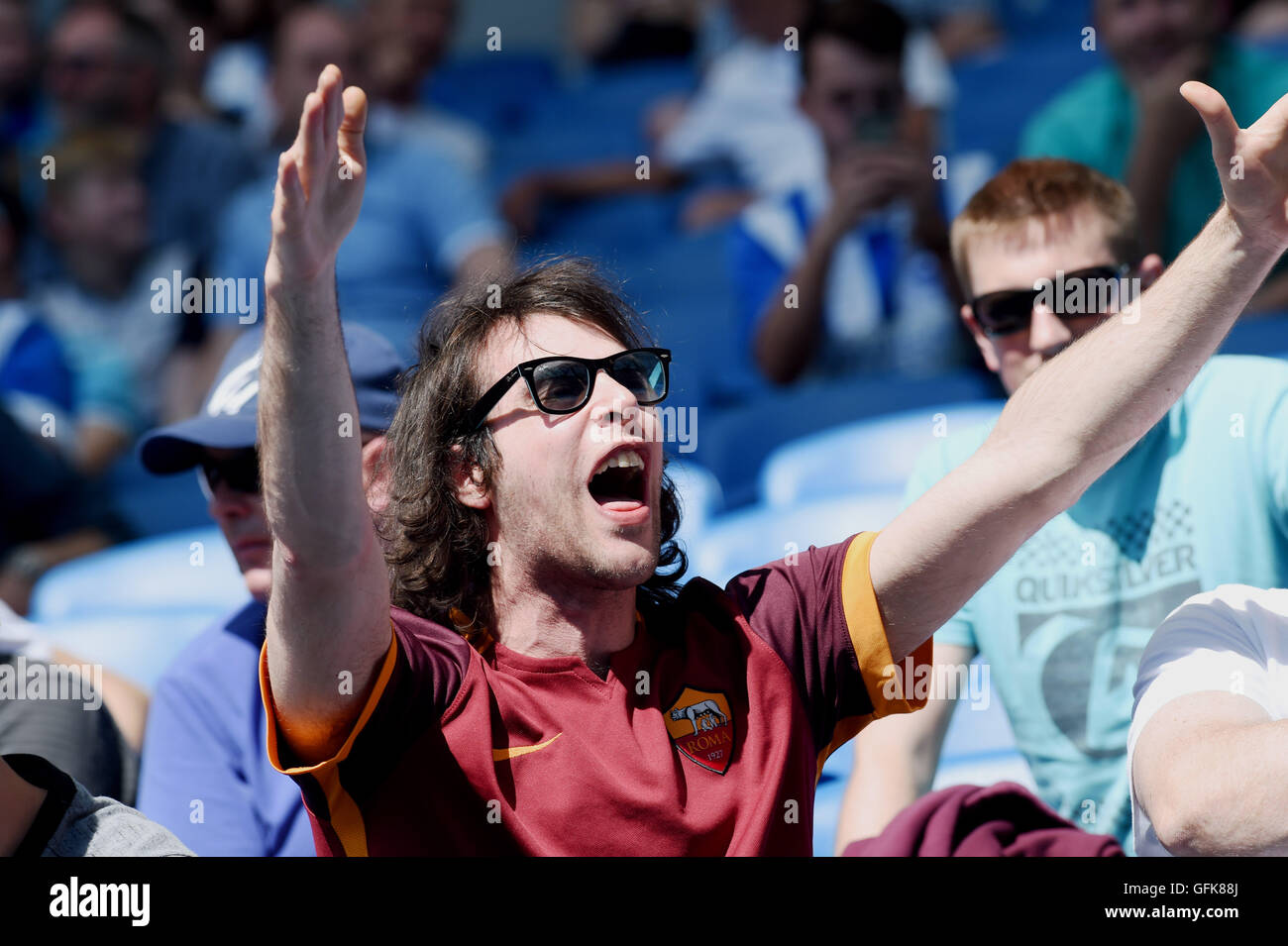 A Roma fan amongst Brighton fans during the Friendly match between Brighton and Hove Albion and Lazio at the American - Stock Image