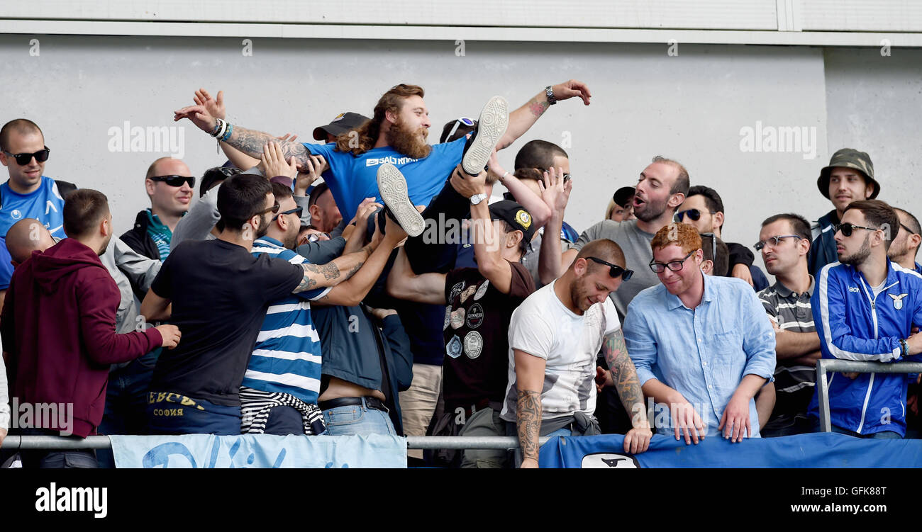 Lazio fans in good spirits during the Friendly match between Brighton and Hove Albion and Lazio at the American Stock Photo
