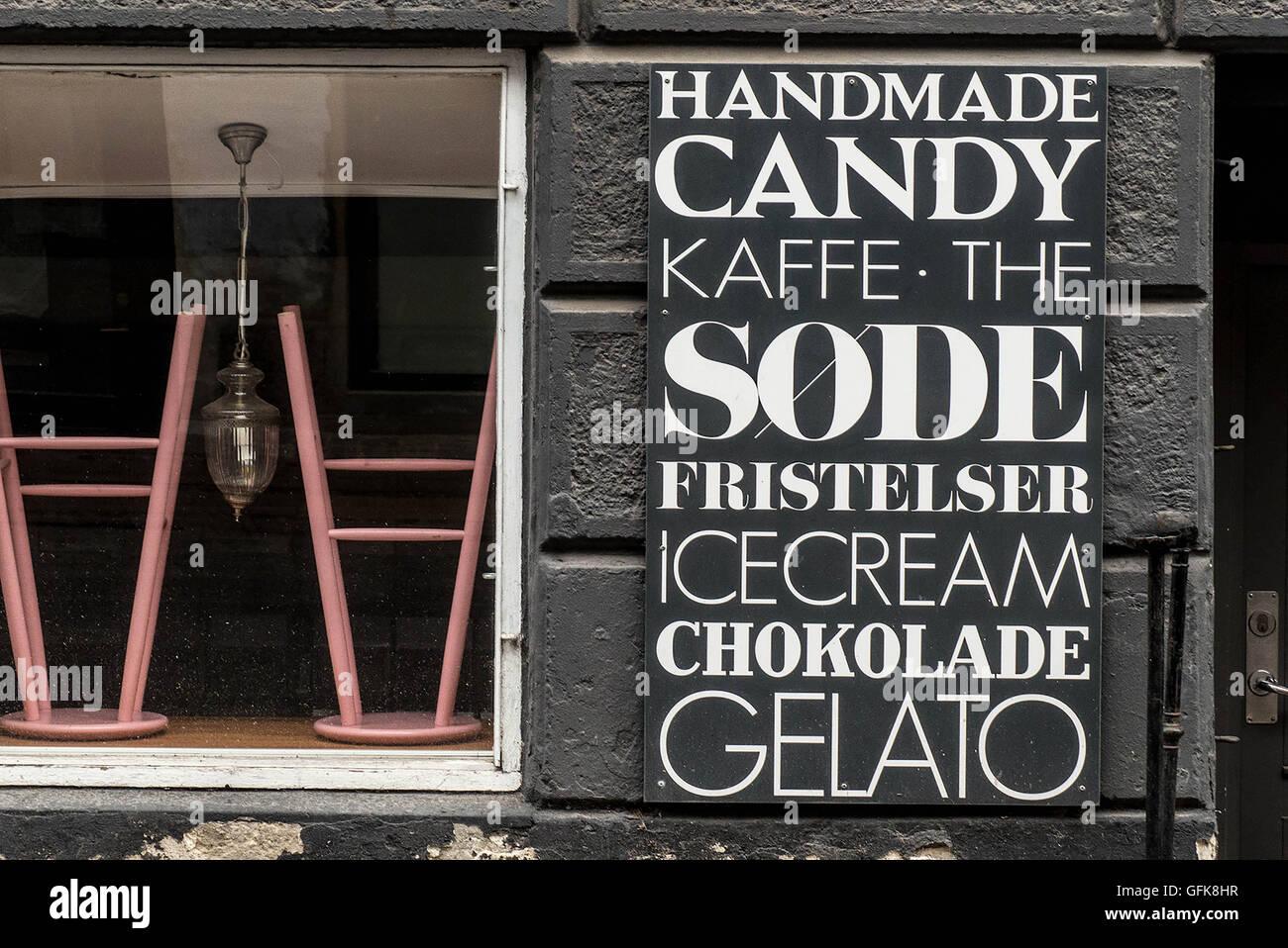 typography store window,Copenhagen,Denmark - Stock Image