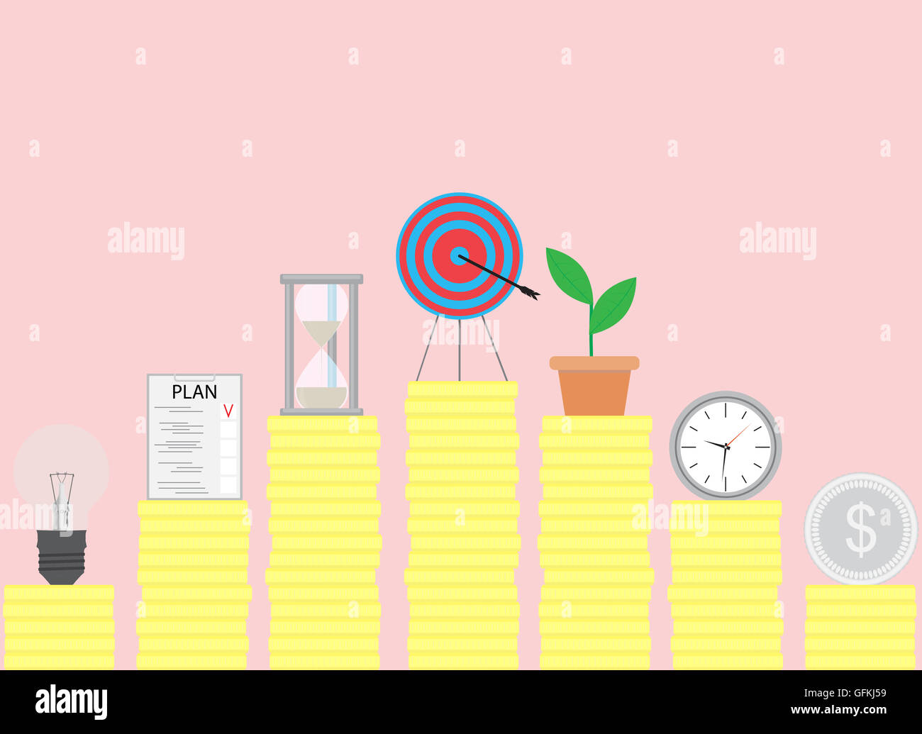 Steps To Achieve The Goal Achievement And Success Setting Business Vector Illustration