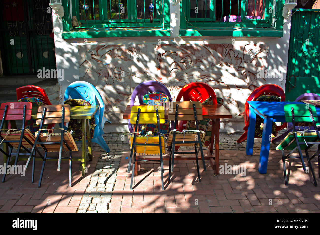 Colorful Table And Chairs In A Street Cafe Stock Photo Alamy