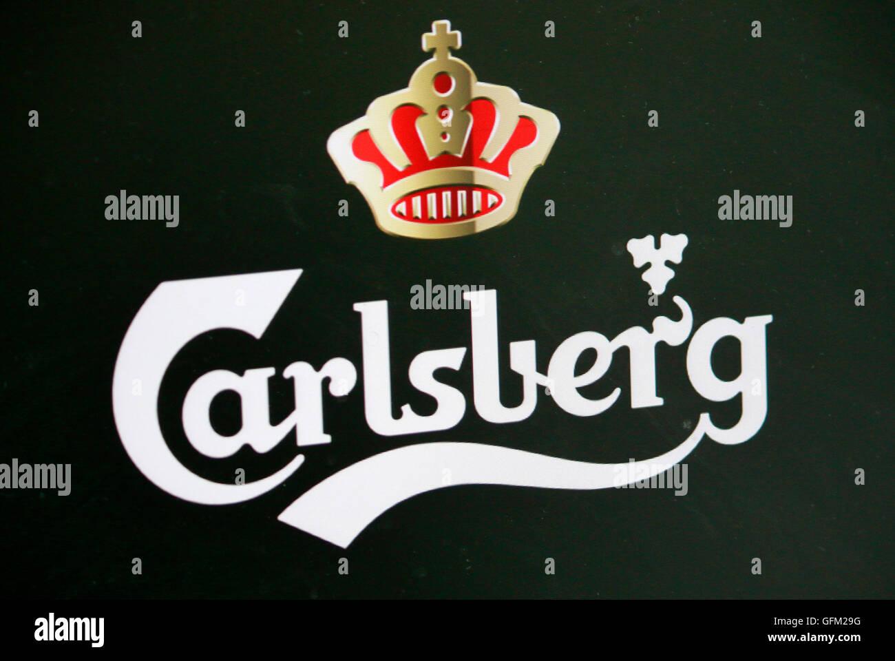 Loge der Marke 'Carlsberg', Berlin. - Stock Image