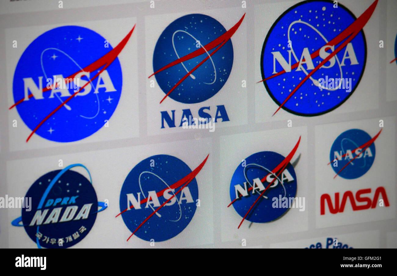 Loge der Marke 'NASA', Berlin. - Stock Image