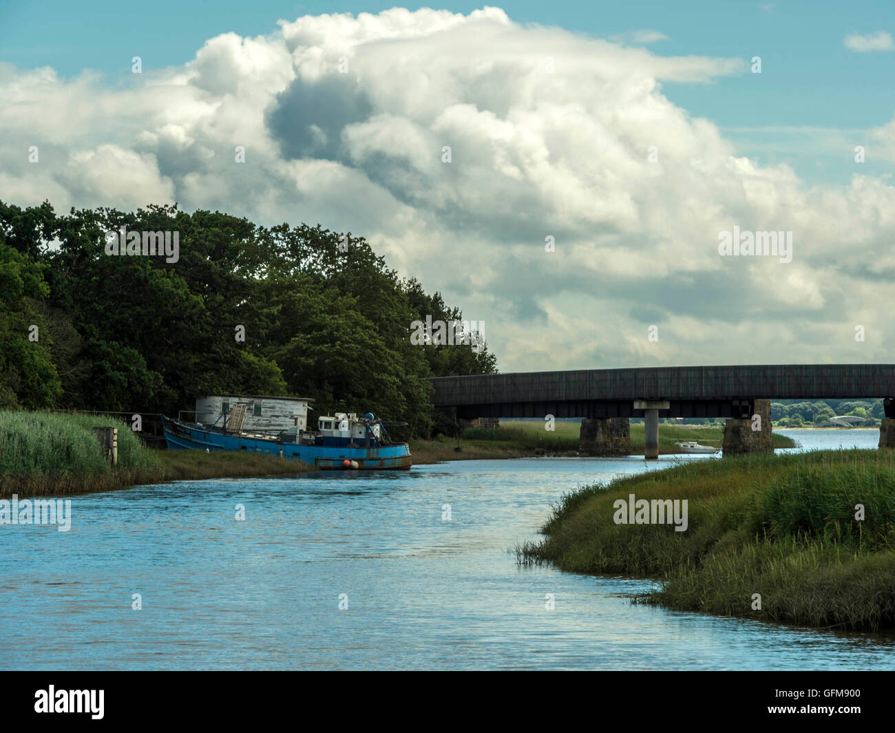 Landscape depicting the Goosemoor & River Clyst Bridge near Topsham in the background with meandering Clyst in the Stock Photo