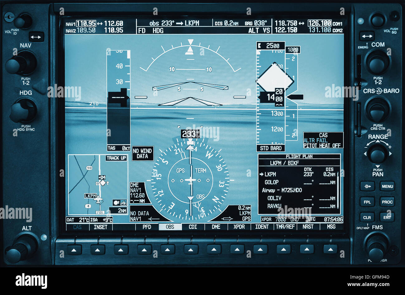 Airplane glass cockpit display G1000 with weather radar and engine gauges  in small private airplane - Stock Image