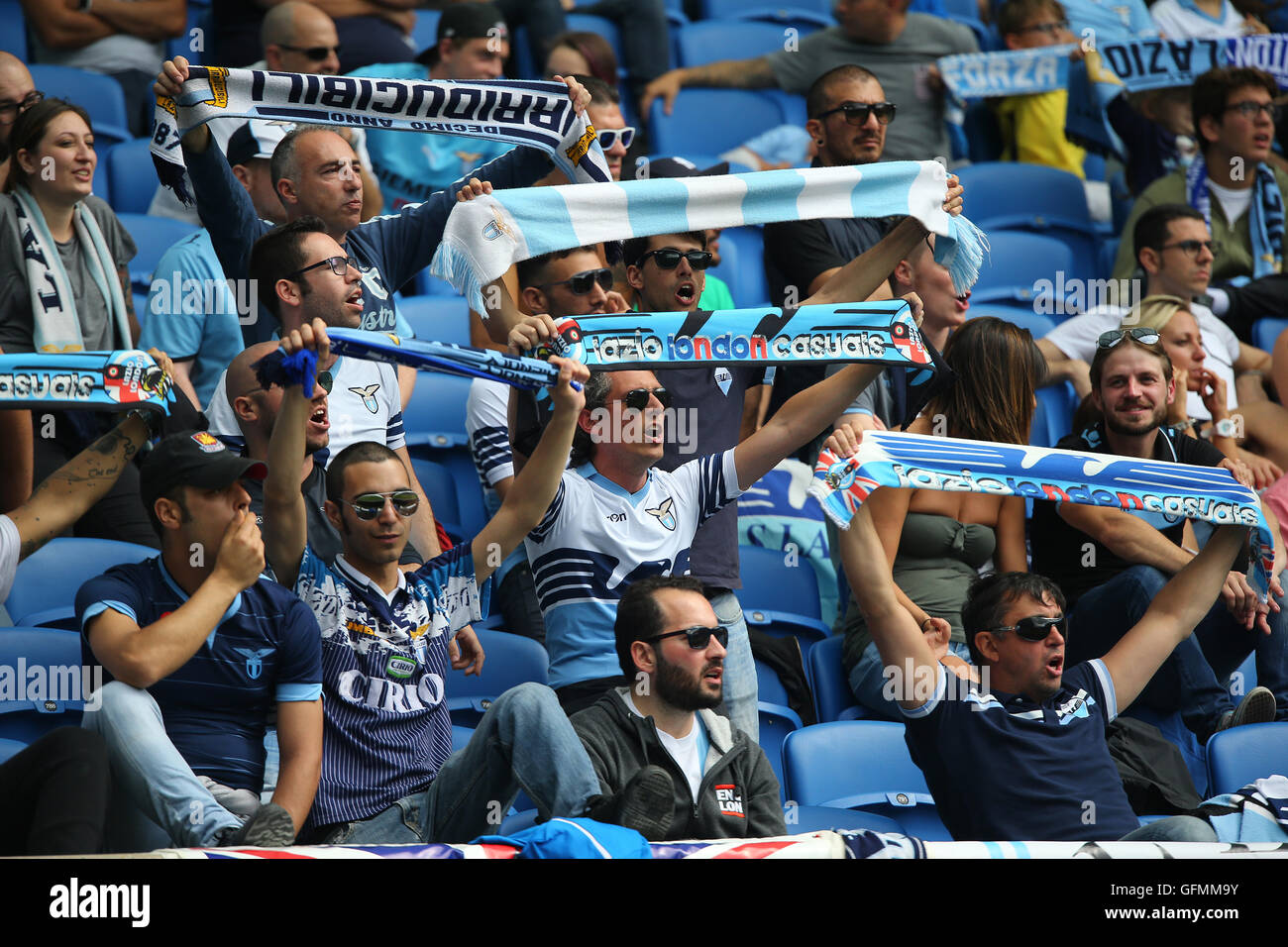 American Express Stadium, Brighton, Great Britain. 31st July 2016. Lazio fans during a Pre-Season friendly match. Stock Photo