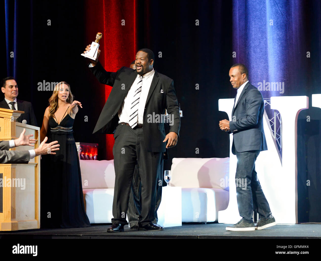Las Vegas, Nevada, USA. 30th July, 2016. Riddick Bowe honored at the 4th Annual Nevada Boxing Hall of Fame Induction - Stock Image