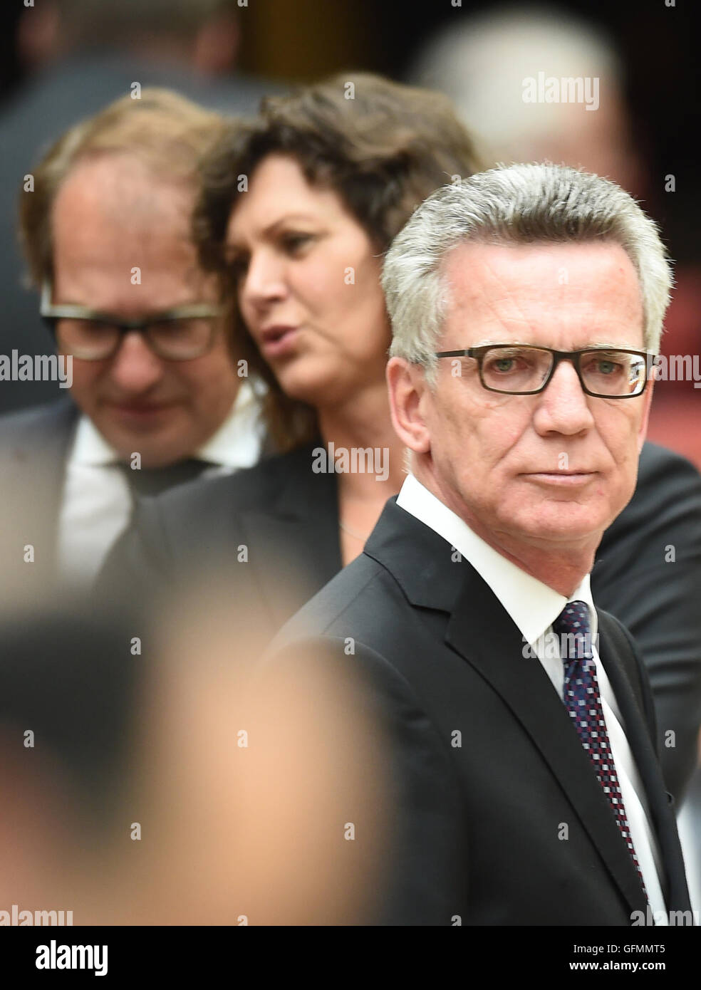 Munich, Germany. 31st July, 2016. German Interior Minister Thomas de Maiziere (CDU, r-l), the Deputy Prime Minister - Stock Image