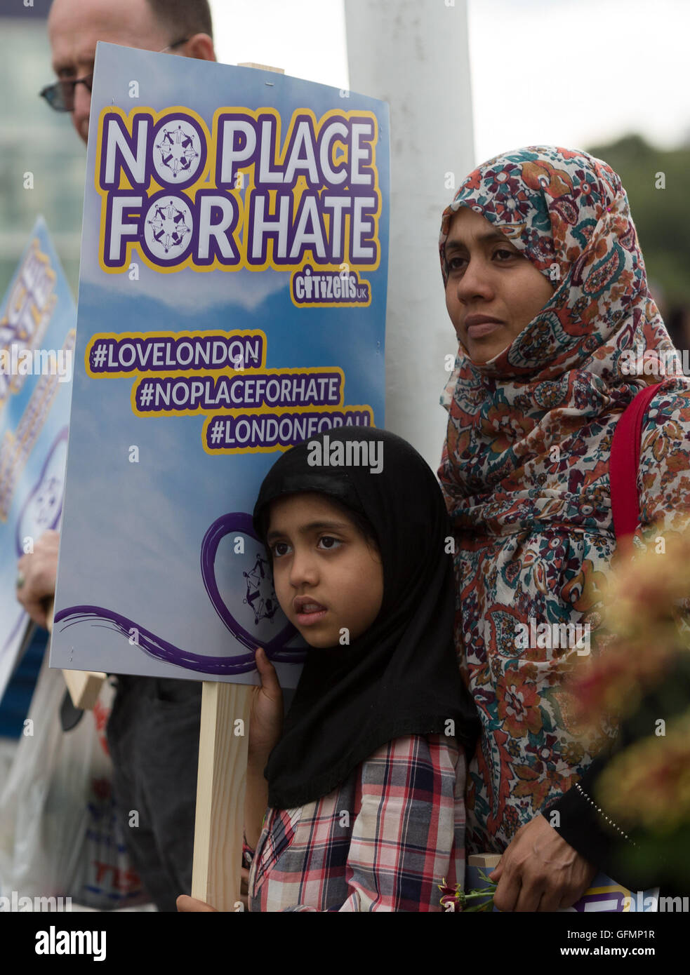 London, UK. 31st July 2016. Citizens UK stage a protest rally against racism and hate crime, marching from Tower - Stock Image