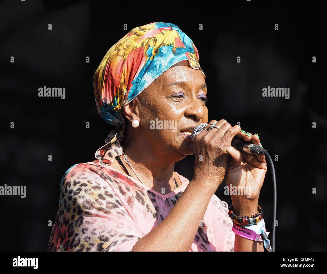 'Dawn Penn', Jamaican reggae singer, performing on the Castle Stage at  Camp Bestival 2016, Lulworth, Dorset, - Stock Image