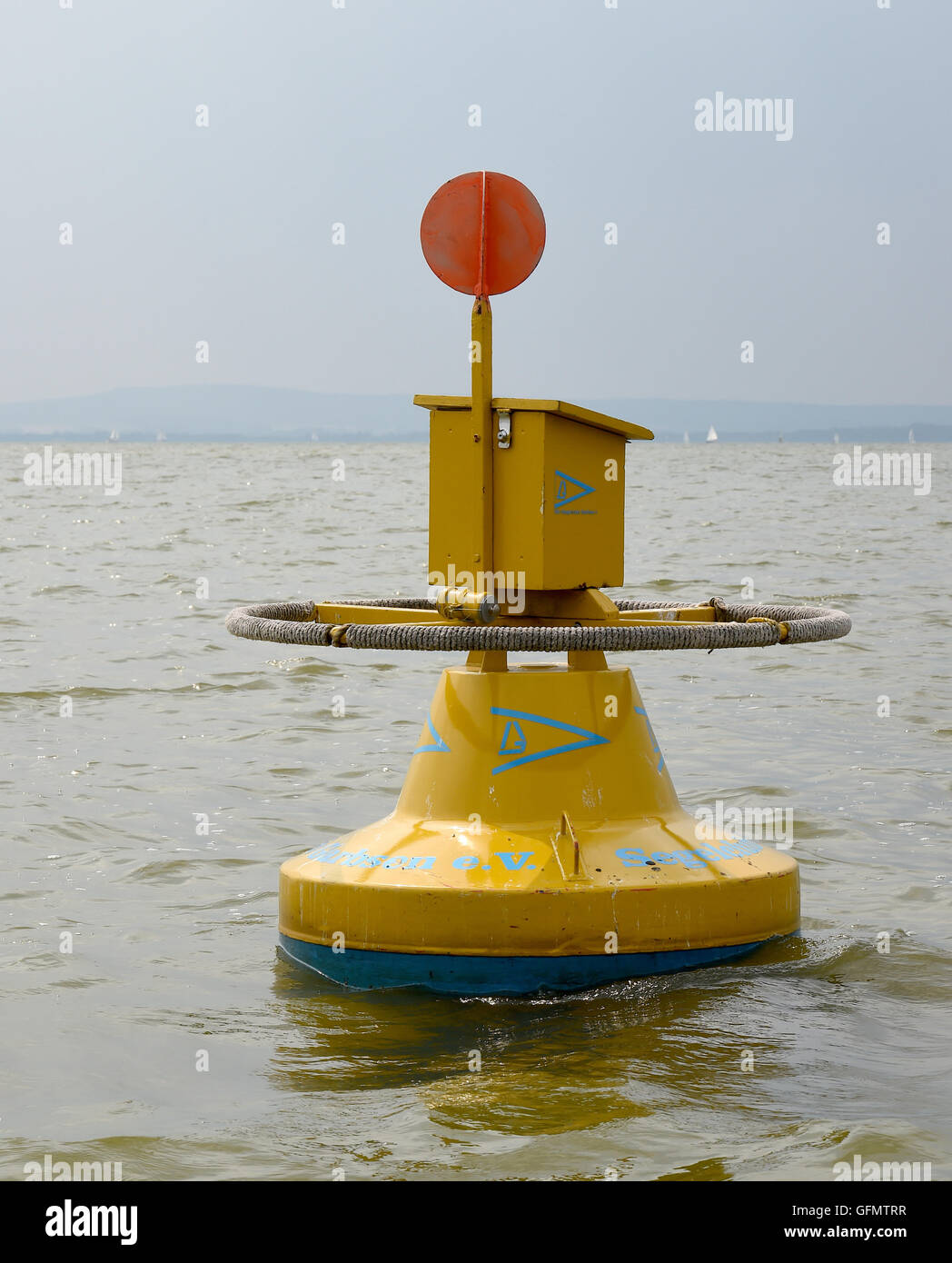 Steinhude, Germany. 27th July, 2016. The yellow mail buoy that is anchored in Steinhuder Meer lake in Steinhude,Stock Photo