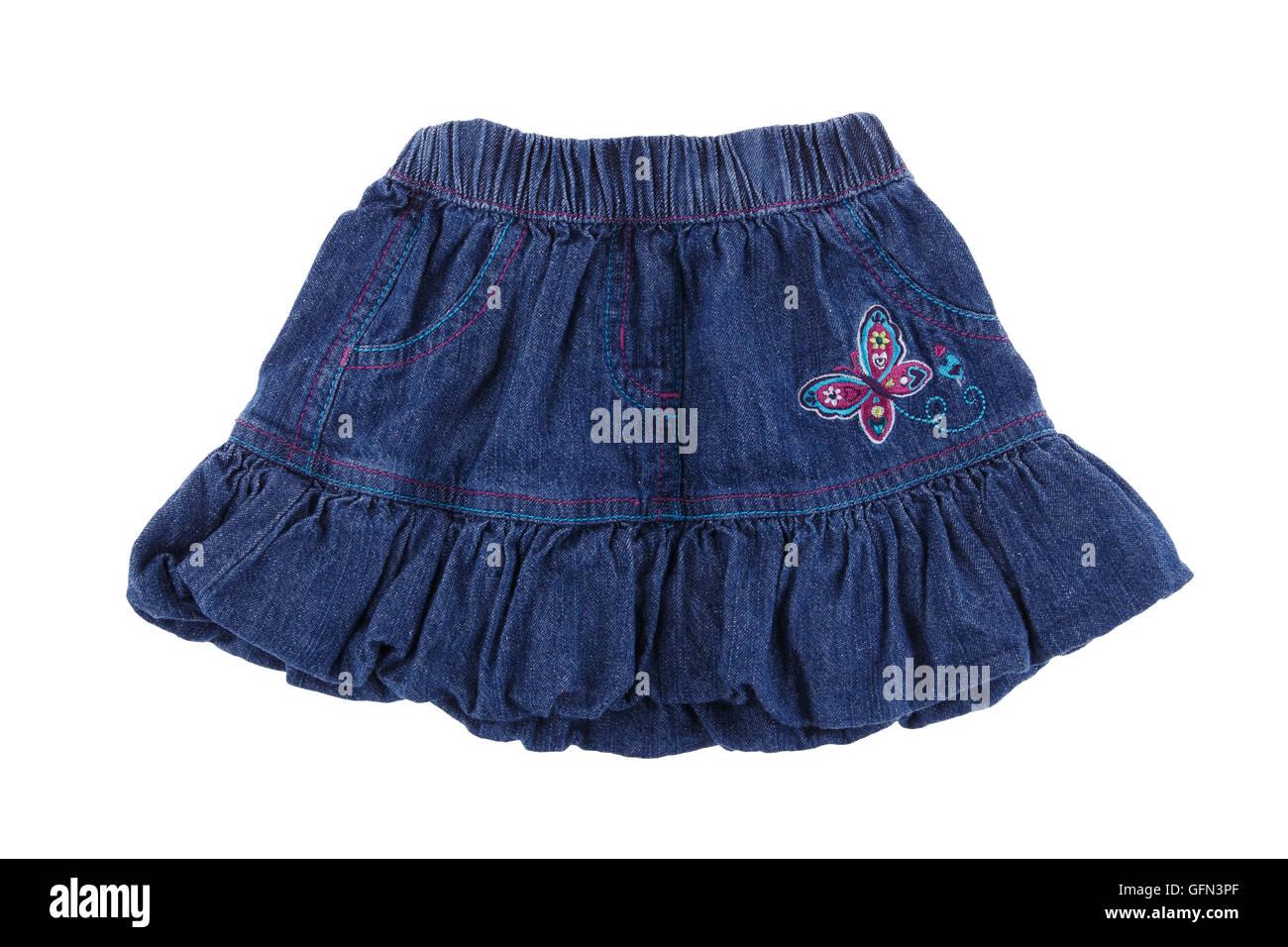 Women's denim skirt isolated on white background - Stock Image