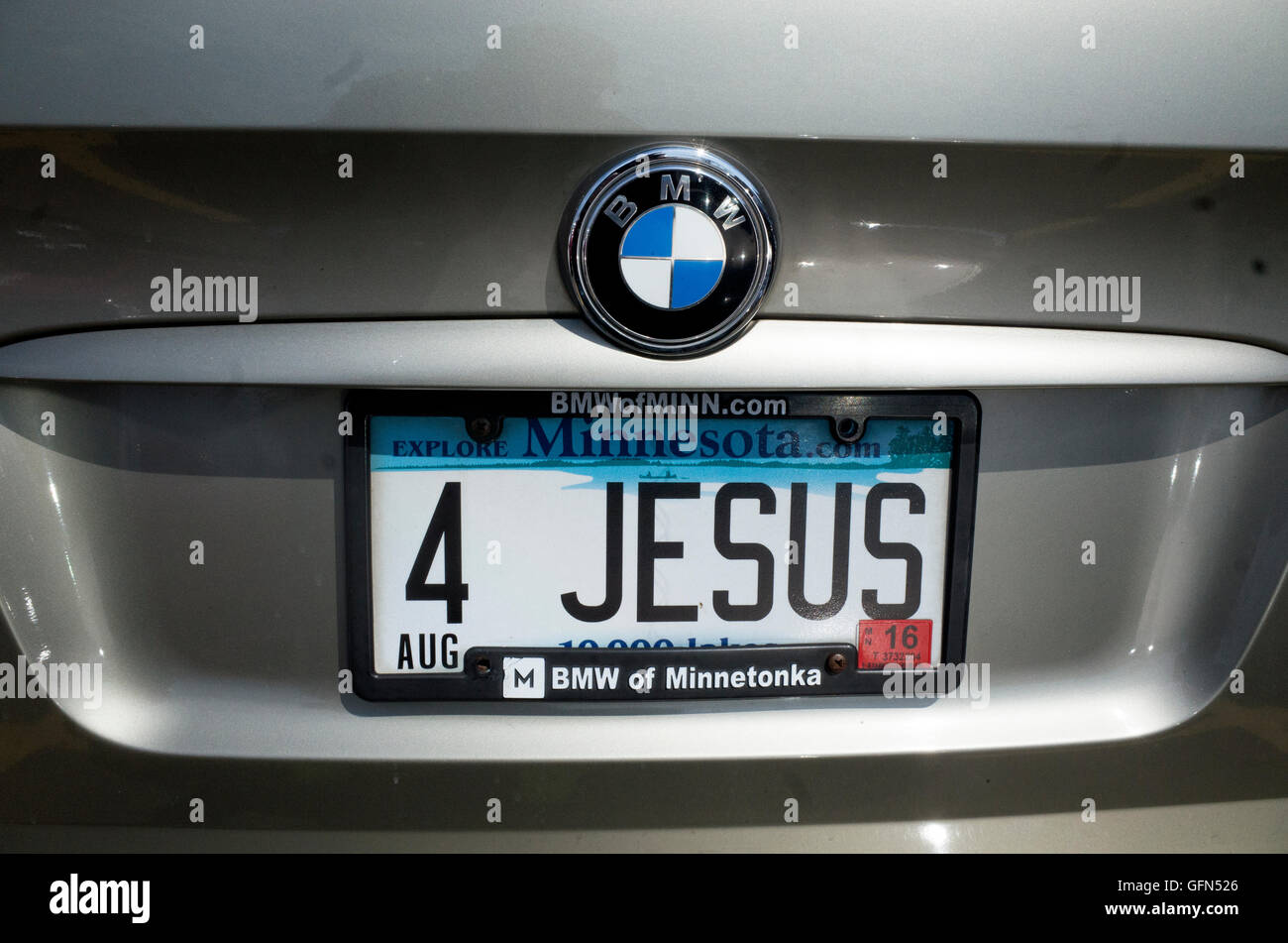 4 Jesus Designer Personal License Plate On A Bmw Car St Paul Stock