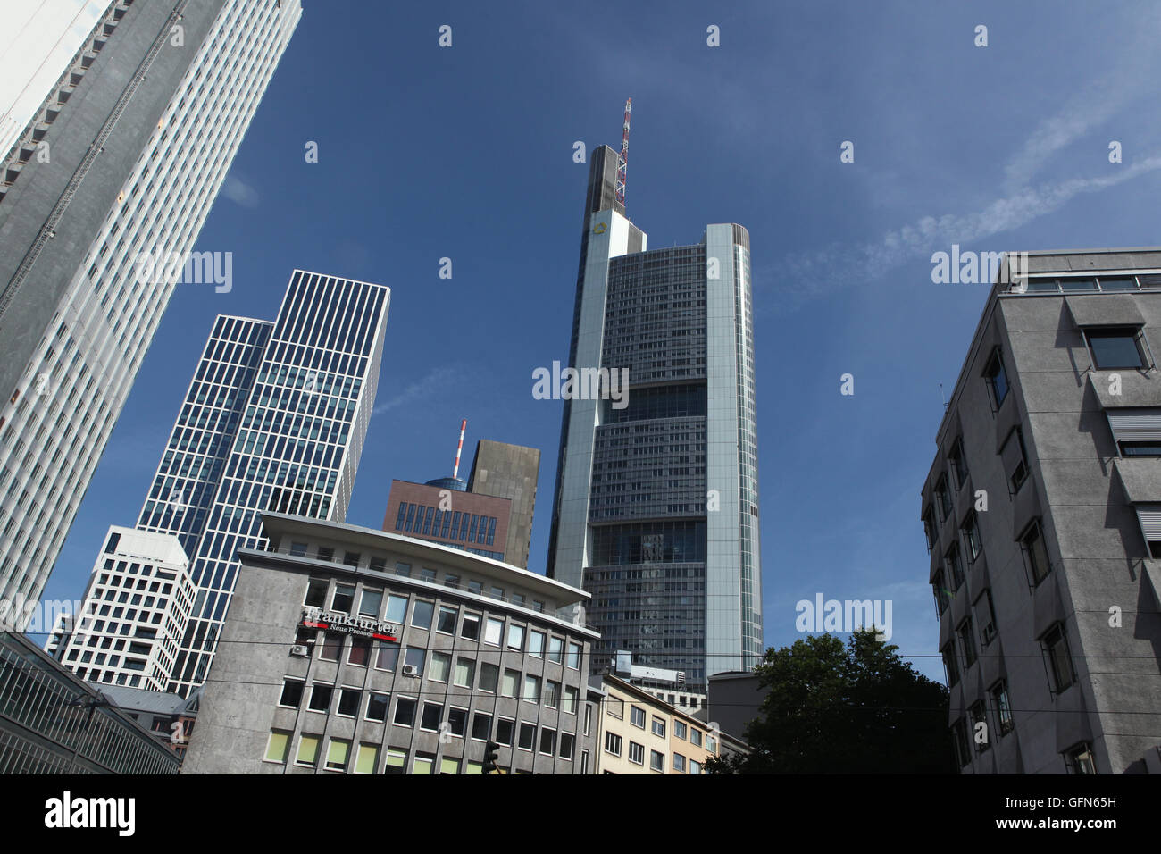 Commerzbank Tower designed by Norman Foster in the Bankenviertel (banking district) in Frankfurt am Main, Hesse, - Stock Image