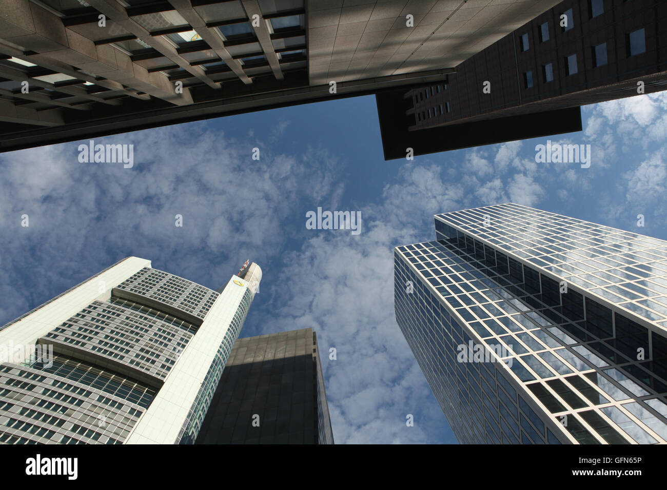 Modern skyscrapers in the Bankenviertel (banking district) in Frankfurt am Main, Hesse, Germany. - Stock Image