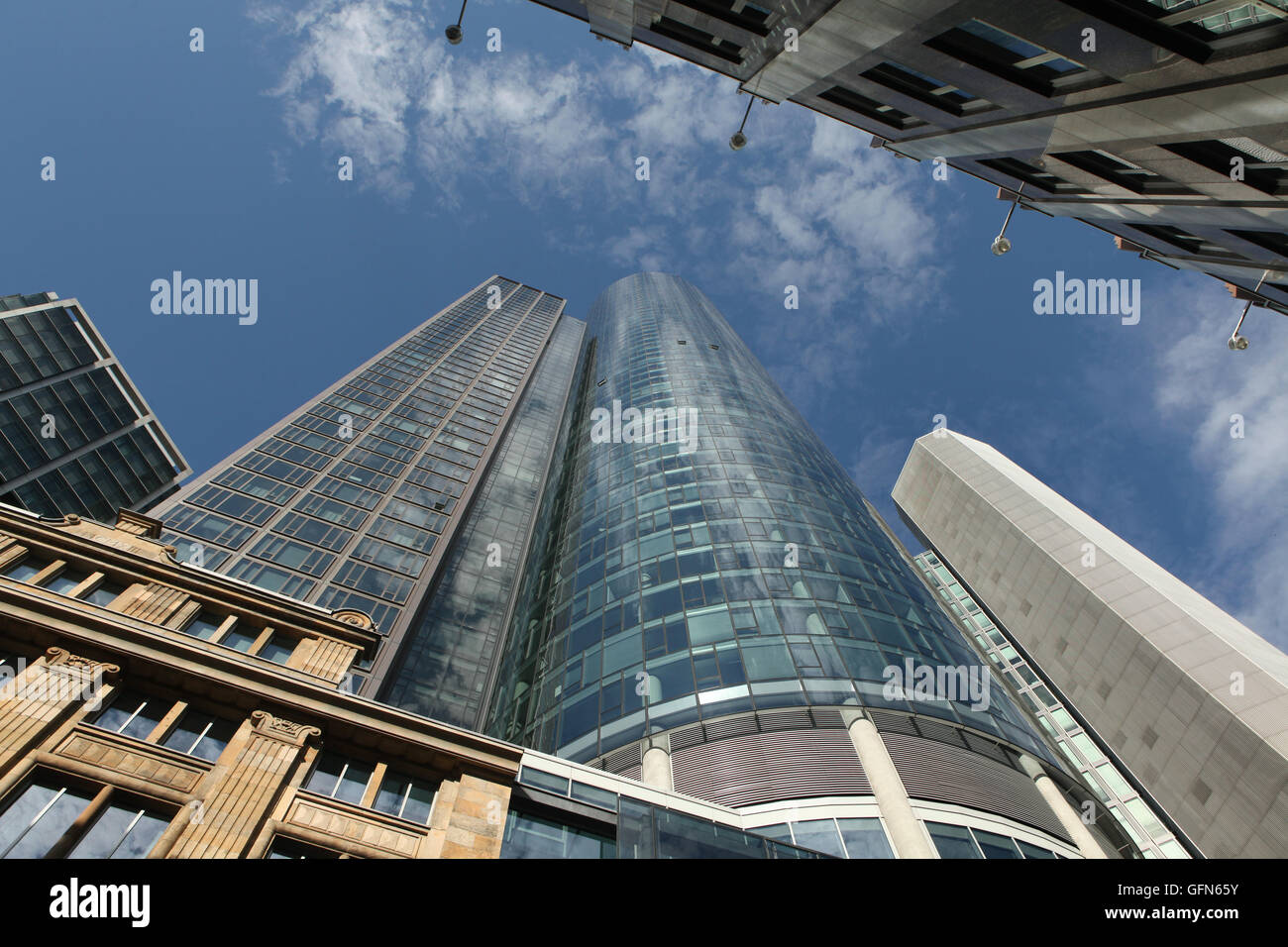 Main Tower in the Bankenviertel (banking district) in Frankfurt am Main, Hesse, Germany. - Stock Image